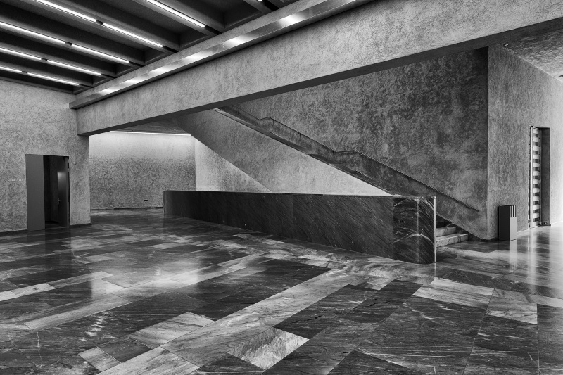 Der Eingangsbereich im Erweiterungsbau des Kunstmuseums Basel der Basler Architekten Emanuel Christ und Christoph Gantenbein am Mittwoch, 13. April 2016. (KEYSTONE/Georgios Kefalas)