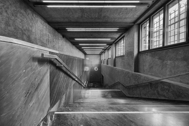 Treppe zur Unterfuehurng zum Erweiterungsbau des Kunstmuseums Basel der Basler Architekten Emanuel Christ und Christoph Gantenbein in Basel am Mittwoch, 13. April 2016. (KEYSTONE/Georgios Kefalas)