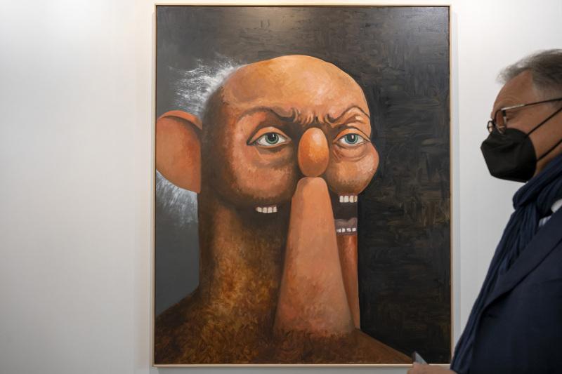 Old Man Portrait (2011) von George Condo an der Art Basel am 22. September 2021. © KEYSTONE/Georgios Kefalas