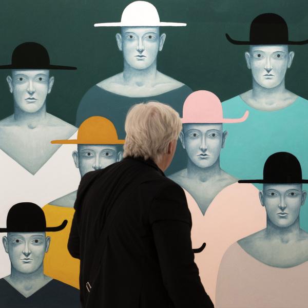 Portraits with Hats (2019) von Nicolas Party an der Art Basel am 12. Juni 2019.  © KEYSTONE/Georgios Kefalas