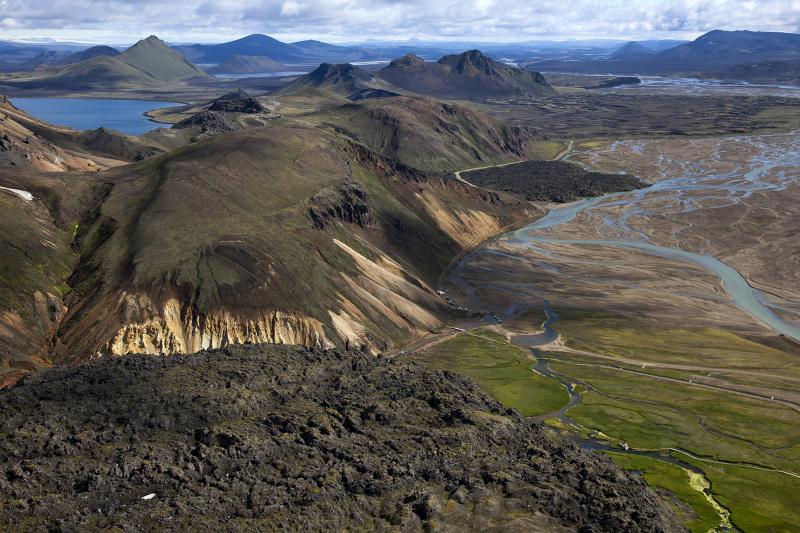 Luftaufnhame vom Naturschutzgebiet Fjallabak in Island am 28. Juni 2012. © Georgios Kefalas