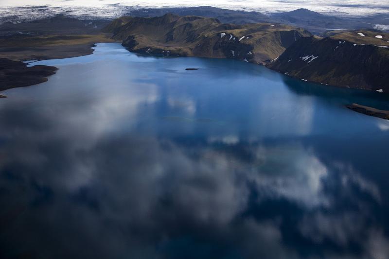 Luftaufnahme vom Seegebiet von Langisjor im Hochland von Island, am 28. Juni 2012. © Georgios Kefalas